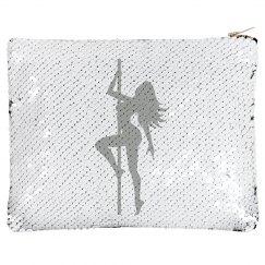 Flip Sequin Makeup Case White/Black
