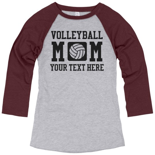 afd9e06ec Plus Size Volleyball Mom Shirts Ladies Relaxed Fit 3/4 Sleeve Raglan T-Shirt