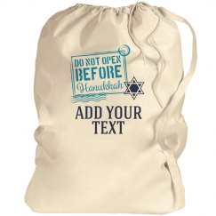Custom Text Hanukkah Label Gift Bag