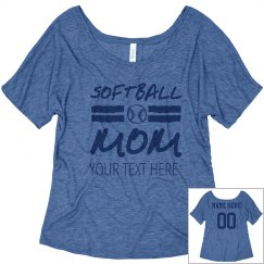 Custom Number Softball Mom