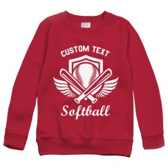 Softball Emblem Youth Kids Custom Sweatshirt