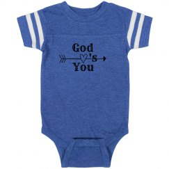 Infant Rabbit Skin Football Bodysuit, God Love's You