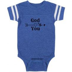 Infant Rabbit Skin Football Bodysuit, God Love's You