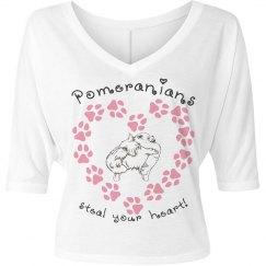 Pomeranians Steal Your Heart - Women's V-Neck Tee