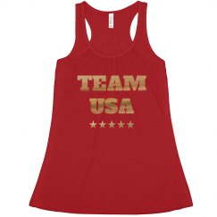 Gold Metallic Proud Team USA