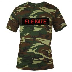 Elevate Camo- red letters