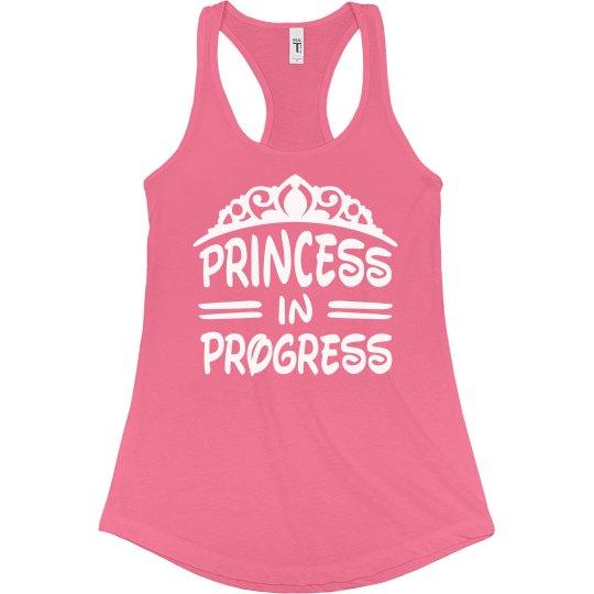 62fadd108 Princess In Progress Workout Tee Ladies Slim Fit Racerback Tank Top