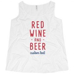Red Wine & Beer Funny Custom 4th of July Plus Tee