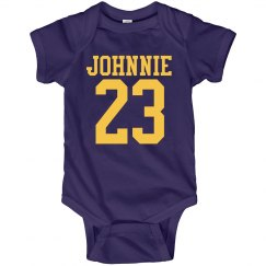 Biggest Littlest Football Fan Baby Custom Name Number