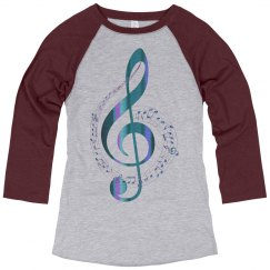Turquoise & Blue Treble Clef Music Notes Swirl