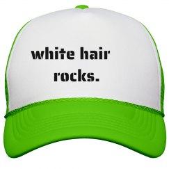 WHite Hair Rocks- Trucker Hat Black and White