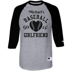 Baseball Girlfriend Tee With Custom Number and Name