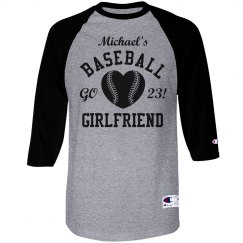 Baseball Girlfriend Tee With Custom Number and Name
