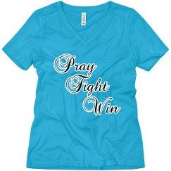 Pray Fight Win V-Neck Tee