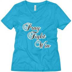 Pray Fight Win V-Neck Tee