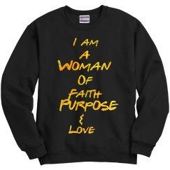 Woman Of Faith Black Sweatshirt with Glitter