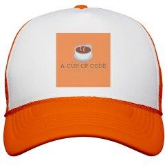 Hot Orange A Cup of Code Podcast Logo Trucker Cap