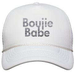 Boujie Babe Silver Metallic Text Trucker Cap