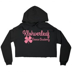 black cropped hoodie with cursive font