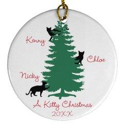 Kitty Christmas Custom Cat Name Ornament