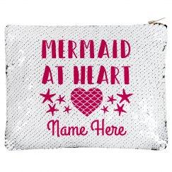 Custom Name Mermaid Sequin Zip Bag