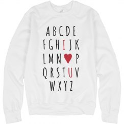Valentine's Day Alphabet I Love You Sweatshirt