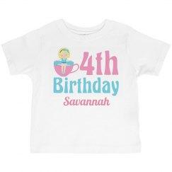 Cute 4th Birthday Teacup Girl
