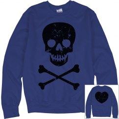 Blue distressed sweater
