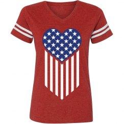 Patriotic American Flag Heart