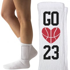 Basketball Girlfriend Custom Number Socks