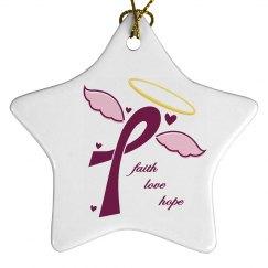 Faith Love Hope Ornament - Star