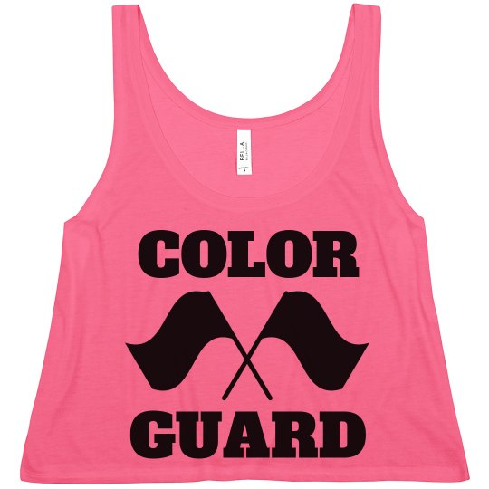 Color Guard Girls Shirts With Custom Names Ladies Flowy Boxy Cropped