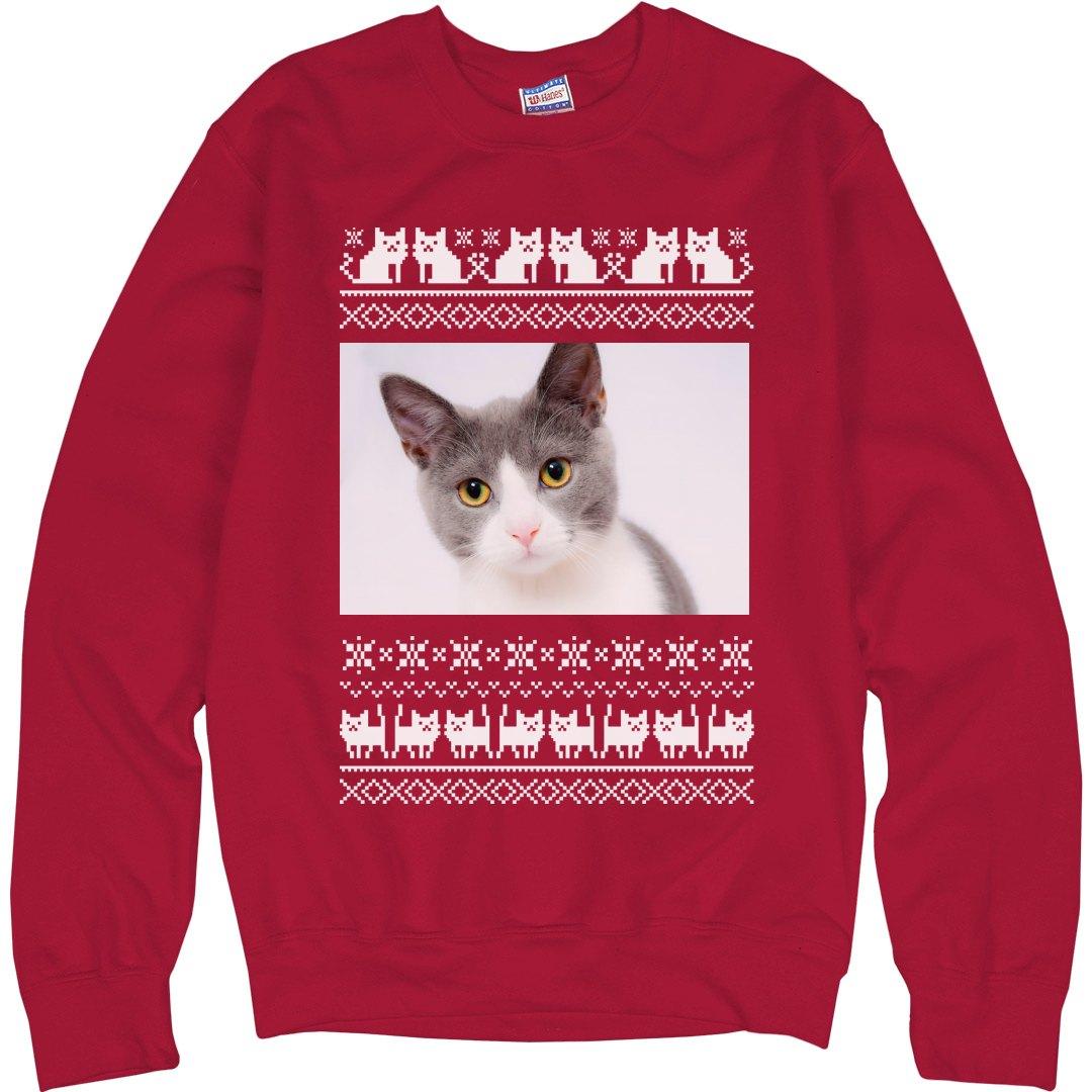 Custom Photo Cat Christmas Sweater Unisex Ultimate Cotton Crewneck Sweatshirt