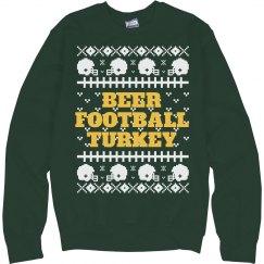 Beer Football Turkey Winter Sweater
