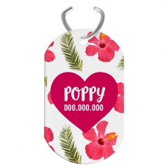 Custom Tropical Flower Pattern Pet Tag