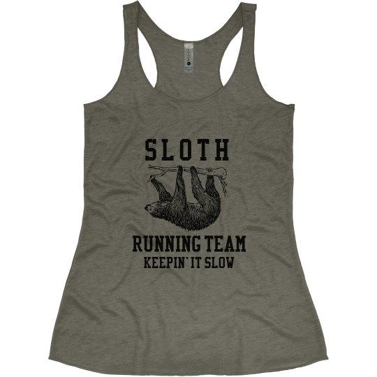 983f1f681e906 Sloth Running Team Ladies Slim Fit Super Soft Racerback Triblend Tank Top