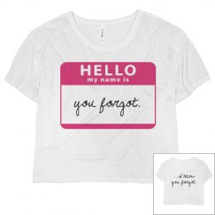Hello My Name Is: Forgot
