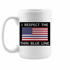 Thin Blue line - American Flag Coffee Cup
