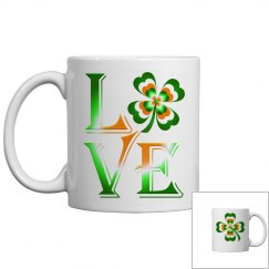 Love Ireland Clover, White Coffee Mug
