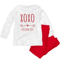 Hugs & Kisses Custom Toddler Valentine Pajamas
