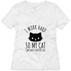 I Work for my Cat Boyfriend Tee