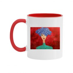 Red Mug with girl (red background)
