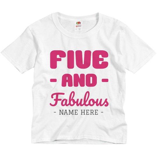 Custom Five And Fabulous Birthday Tee Youth Basic Promo T-Shirt 30a98f686