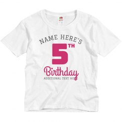 Name 5th Birthday Party Tee