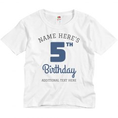 5th Birthday Party Custom Tee
