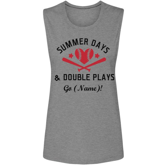 82eb695ddd4c Double Plays Baseball Mom Ladies Flowy Scoop Muscle Tank Top
