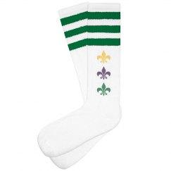 Fleur De Lis Mardi Gras Socks