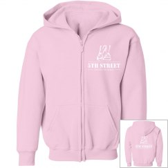 Youth pink/white zipper front hoodie