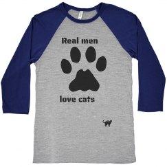 Real Men Love Cats Baseball Tee