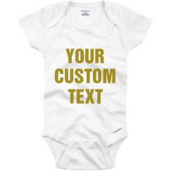 Custom Metallic Text Baby Onesie